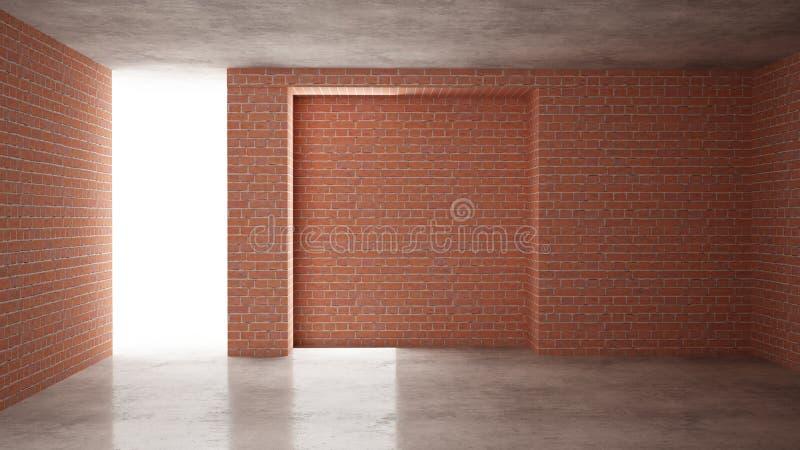 Interno di nuova casa in costruzione, rinnovamento domestico, mura di mattoni rossi, pavimentazione concreta, architettura che co royalty illustrazione gratis