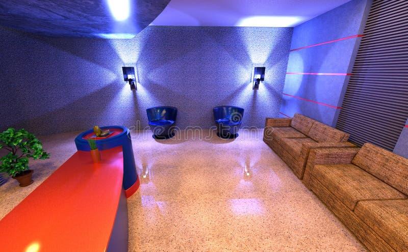 interno di ricezione dell'hotel della rappresentazione 3D illustrazione di stock