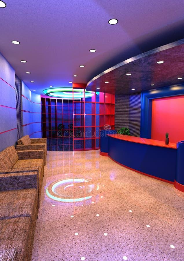 interno di ricezione dell'hotel della rappresentazione 3D royalty illustrazione gratis