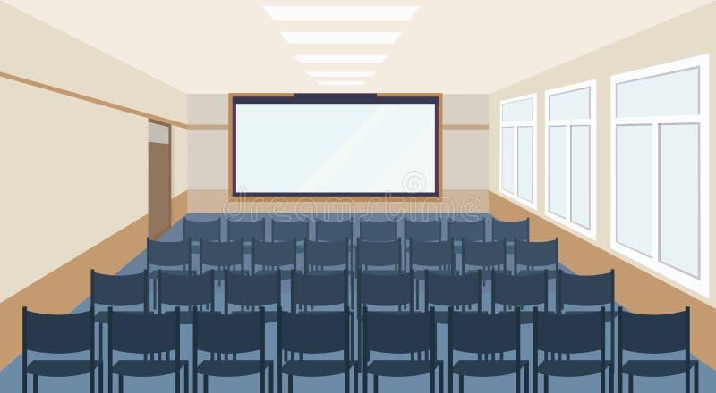 Interno di riunione moderno della stanza di presentazione di conferenza con le sedie blu ed il corridoio di seminario di conferen royalty illustrazione gratis