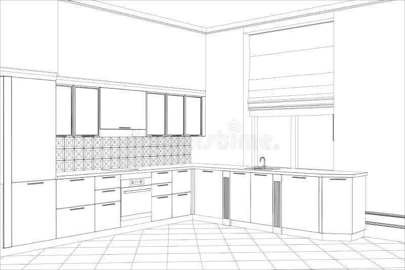 interno di schizzo di vettore della cucina della facciata