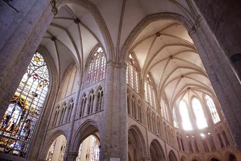 Interno di St Michael e della cattedrale della st Gudula immagini stock libere da diritti
