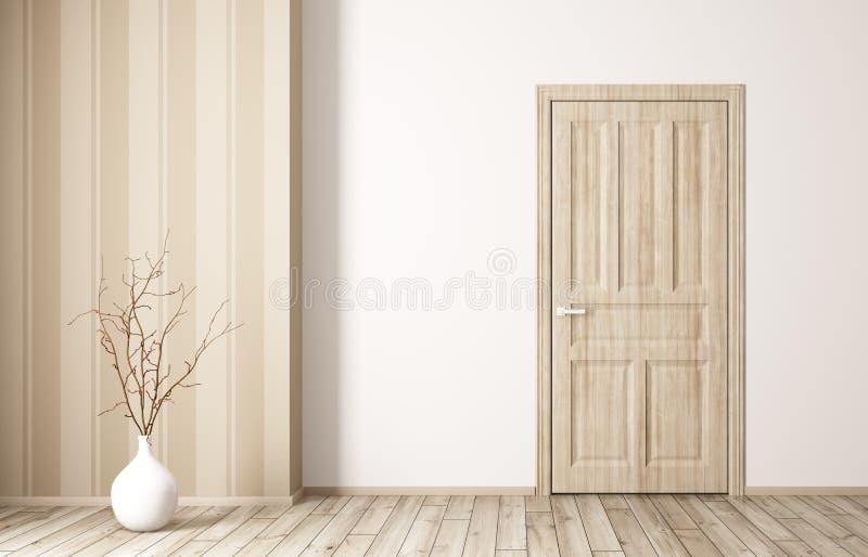 Interno di stanza con la rappresentazione di legno della porta 3d illustrazione di stock