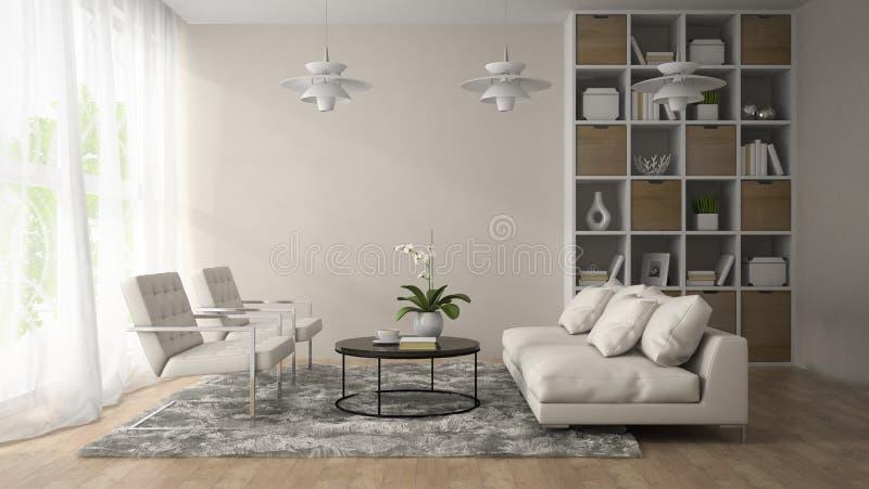Interno di stanza moderna con tre la rappresentazione for Mobilia arredamento 3d