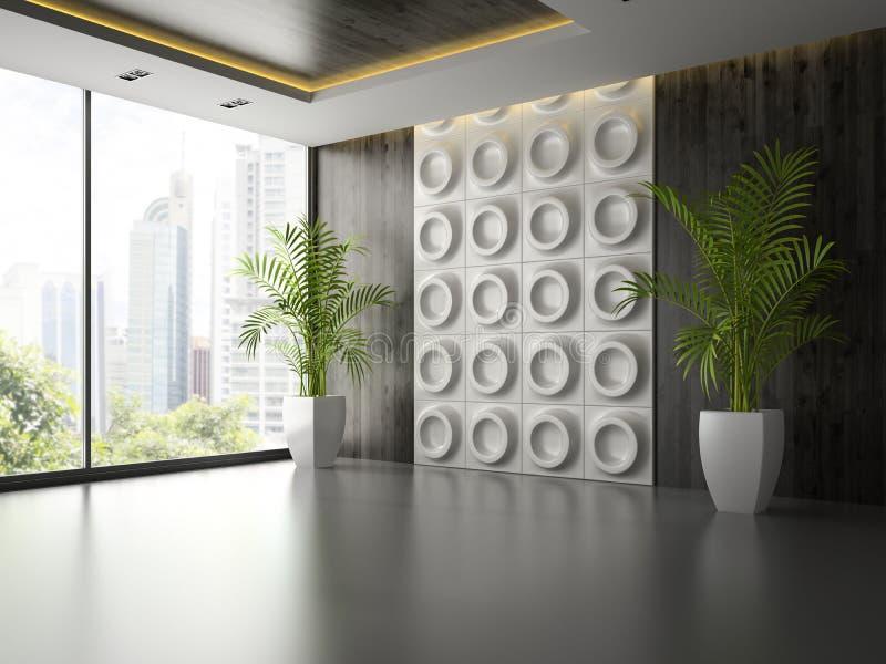 Interno di stanza vuota con il pannello di parete e la palma 3D che rendono 2 fotografia stock