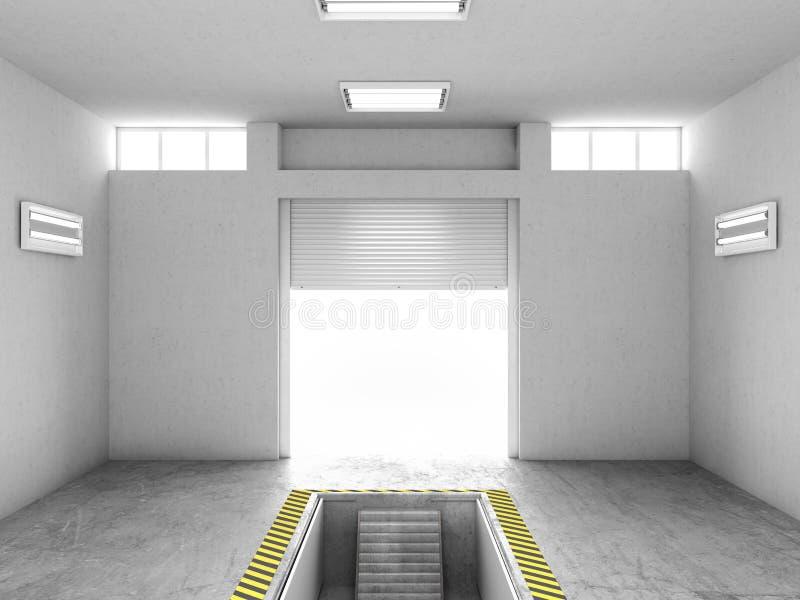 Interno di un garage vuoto, con un pozzo aperto di riparazione illustrazione 3D illustrazione di stock
