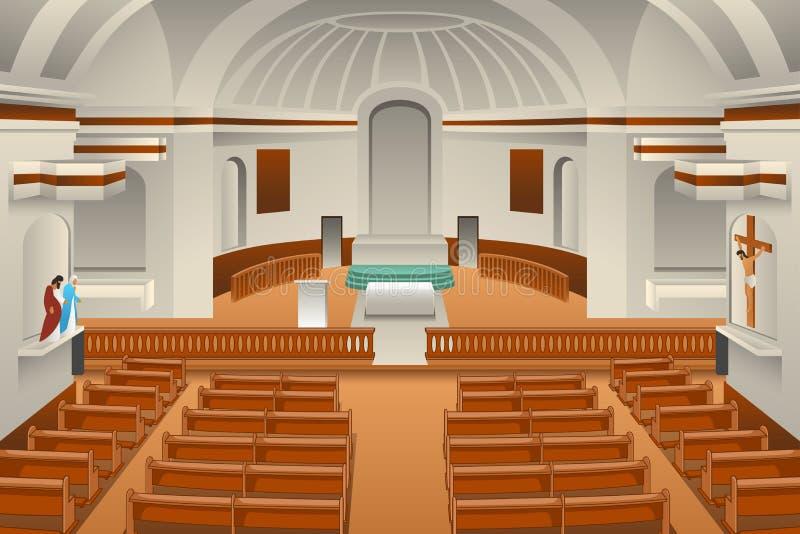 Interno di un'illustrazione della chiesa royalty illustrazione gratis