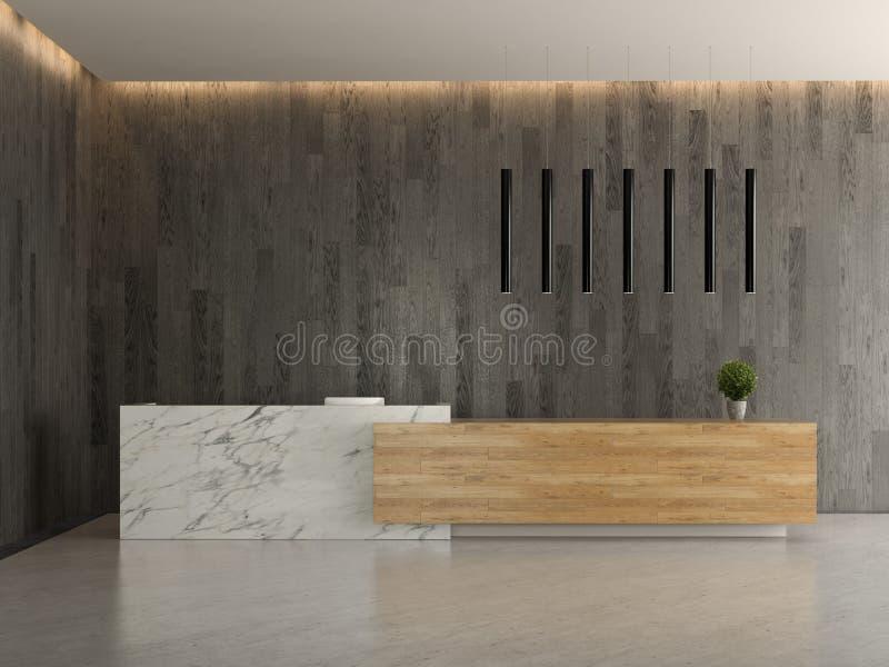 Interno di un'illustrazione di ricezione 3D dell'hotel dell'ingresso fotografia stock libera da diritti