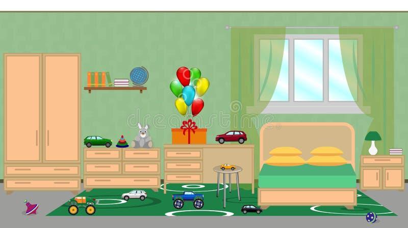 Interno di una camera da letto dei bambini con mobilia, decorat festivo illustrazione vettoriale