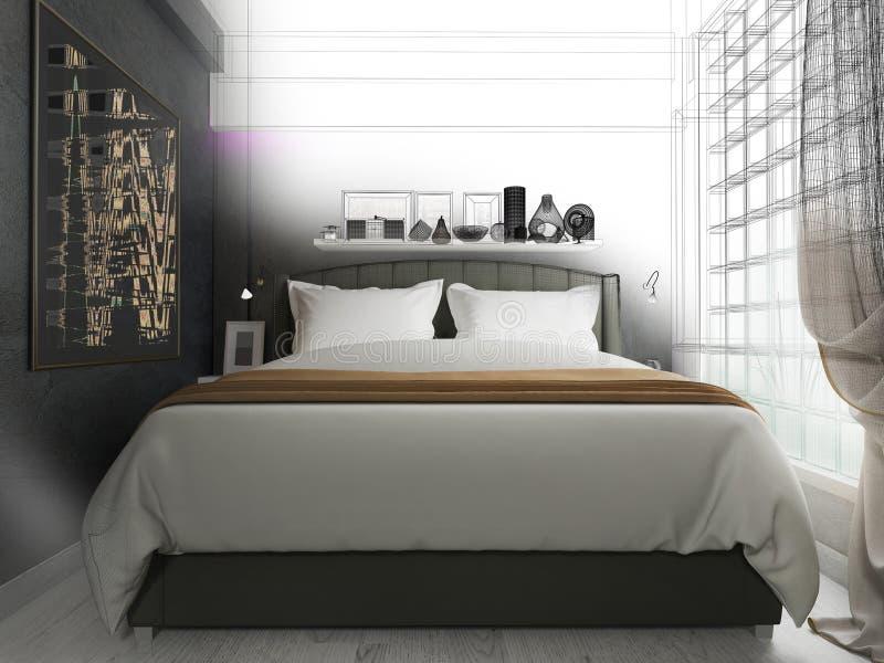Interno di una camera da letto moderna, fatto nei colori scuri illustrazione vettoriale