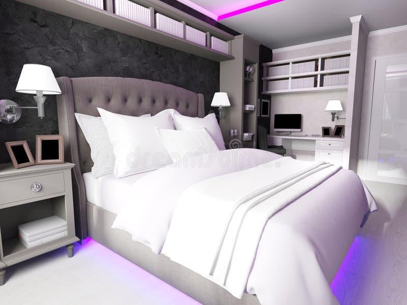 Interno di una camera da letto moderna, fatto nei colori scuri illustrazione di stock