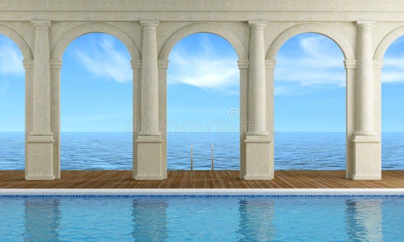 Interno di una località di soggiorno di lusso royalty illustrazione gratis