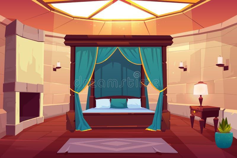 Interno di vettore del fumetto della camera da letto dell'albergo di lusso illustrazione vettoriale