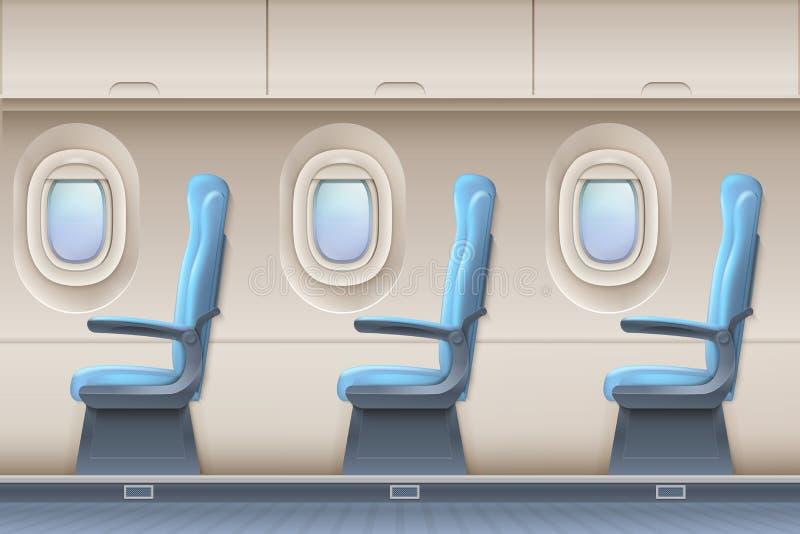 Interno di vettore dell'aeroplano del passeggero Aerei dell'interno con le sedie e gli oblò comodi illustrazione vettoriale