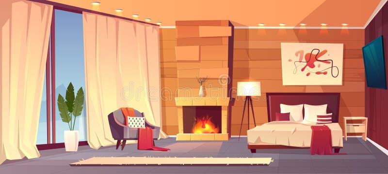 Interno di vettore della camera da letto dell'hotel, località di soggiorno di inverno illustrazione di stock