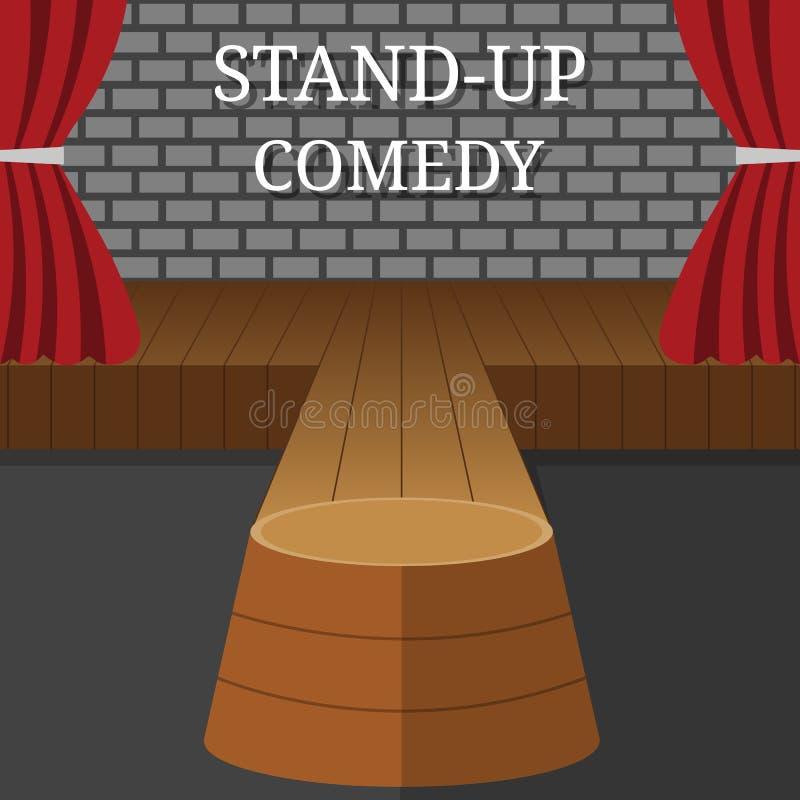 Interno di vettore della commedia in piedi Scena del teatro con le tende e Grey Brick Wall rossi Illustrazione di vettore per la  illustrazione vettoriale
