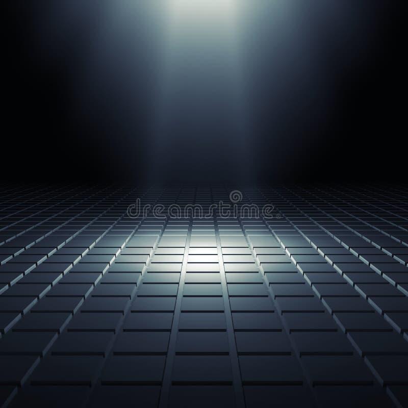 Interno digitale brillante nero astratto 3d illustrazione di stock
