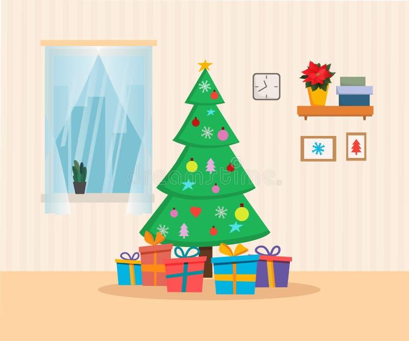 Interno domestico di Natale con l'albero, presente, finestra Illustrazione piana di vettore di stile del fumetto Scheda anno di n illustrazione di stock