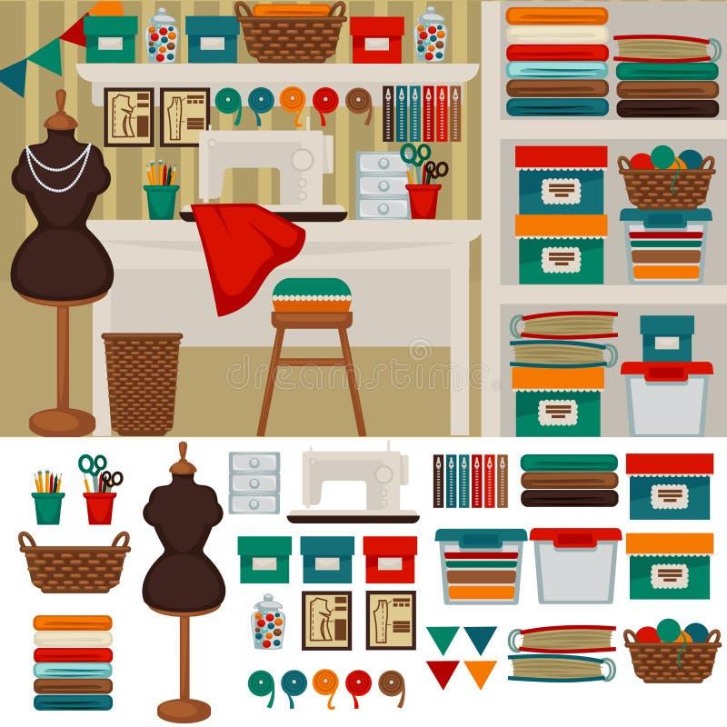 Interno e mobilia della cucitrice del posto di lavoro per for Mobilia domestica