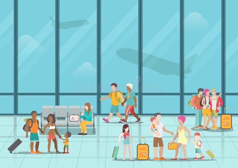 Interno e passeng aspettanti di zona di imbarco dell'aeroporto royalty illustrazione gratis