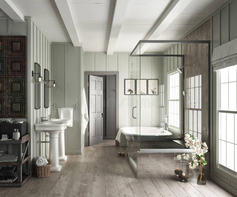 Interno elegante del bagno con gli accenti rustici immagine stock