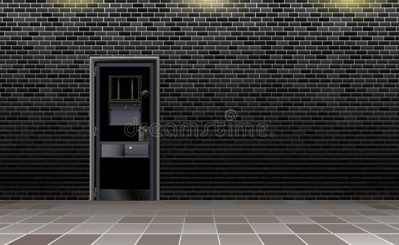 Interno europeo della prigione di tendenza, fondo scuro Prigione moderna con la porta del metallo Dietro il muro di mattoni Illus illustrazione vettoriale