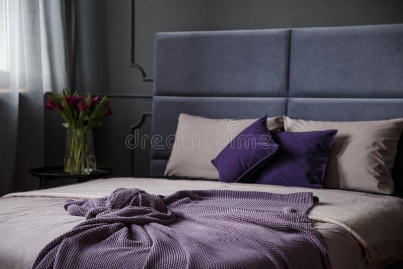 Interno femminile viola della camera da letto immagine stock