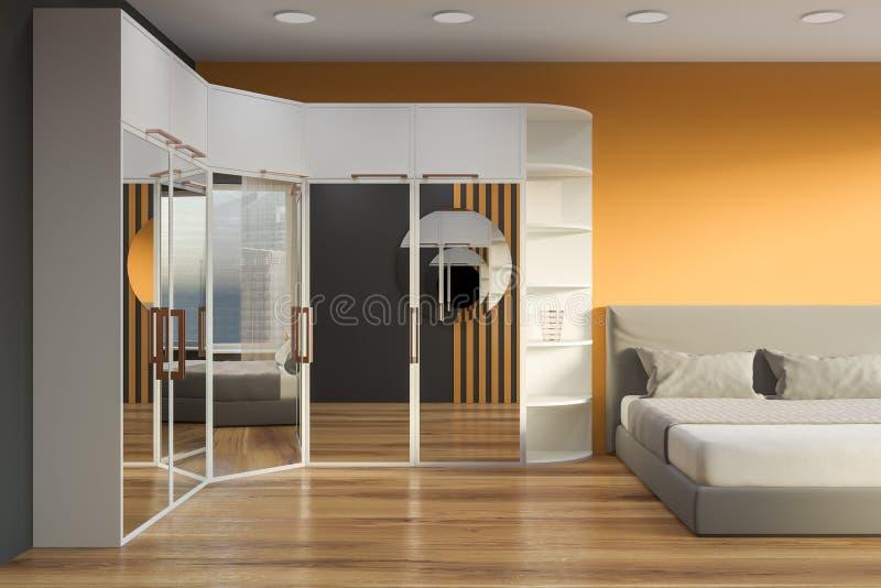 Interno giallo e grigio della camera da letto con il guardaroba royalty illustrazione gratis