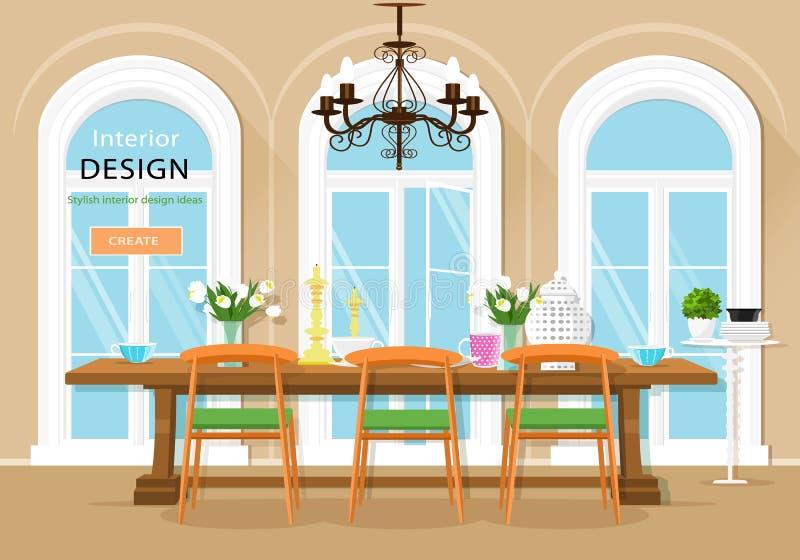 Interno grafico d'annata della sala da pranzo con il tavolo da pranzo, le sedie e le grandi finestre Illustrazione di vettore illustrazione vettoriale