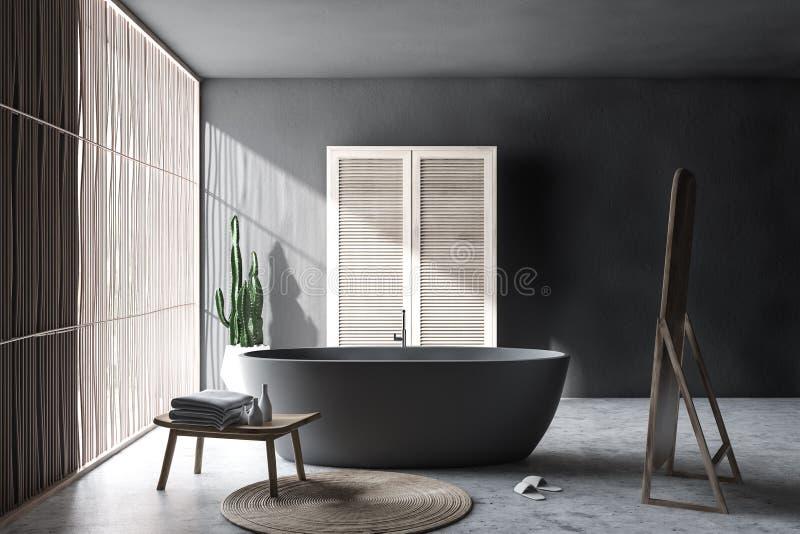 Interno grigio del bagno con il guardaroba illustrazione vettoriale