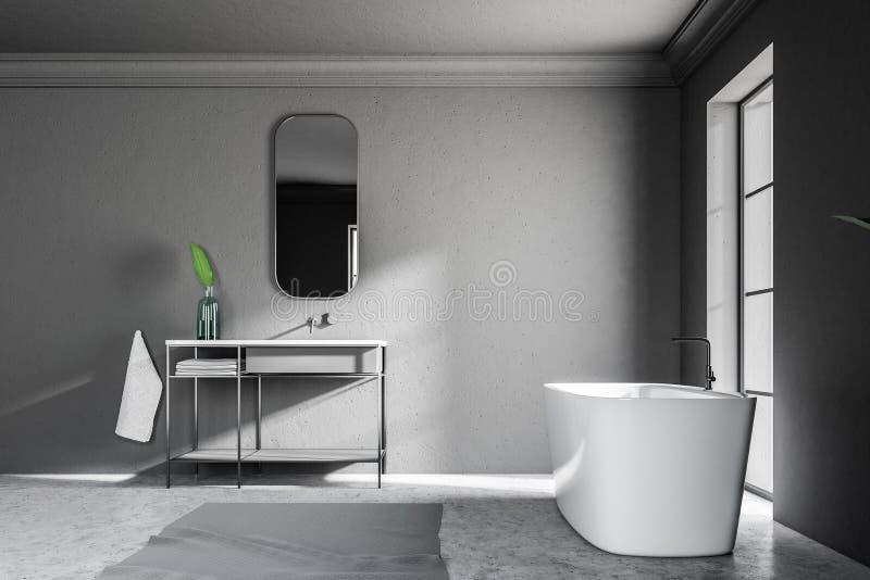 Interno grigio del bagno del sottotetto, vista laterale della vasca del lavandino illustrazione di stock