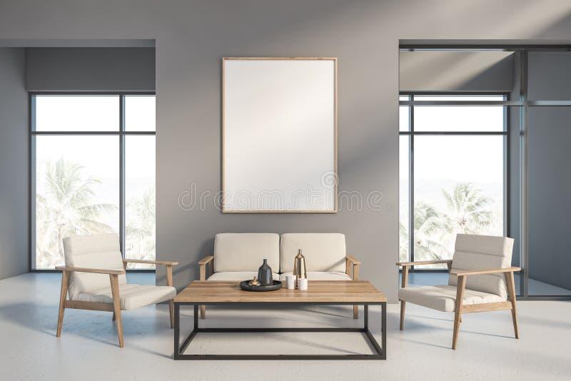 Interno grigio del salone con il sofà ed il manifesto illustrazione di stock