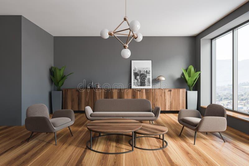 Interno grigio del salone con l'immagine illustrazione vettoriale