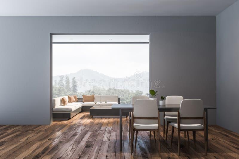 Interno grigio del salone e della sala da pranzo illustrazione di stock
