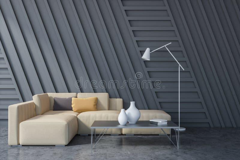 Interno grigio del salone, sofà beige royalty illustrazione gratis
