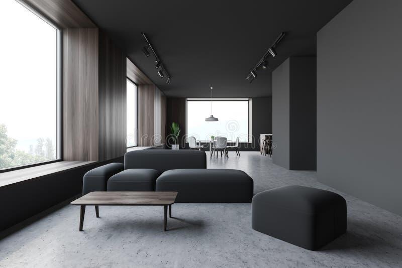 Interno grigio della sala da pranzo e del salone illustrazione vettoriale
