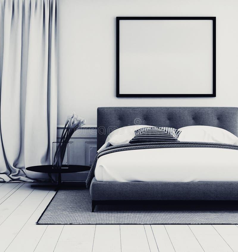 Interno grigio e bianco alla moda della camera da letto royalty illustrazione gratis