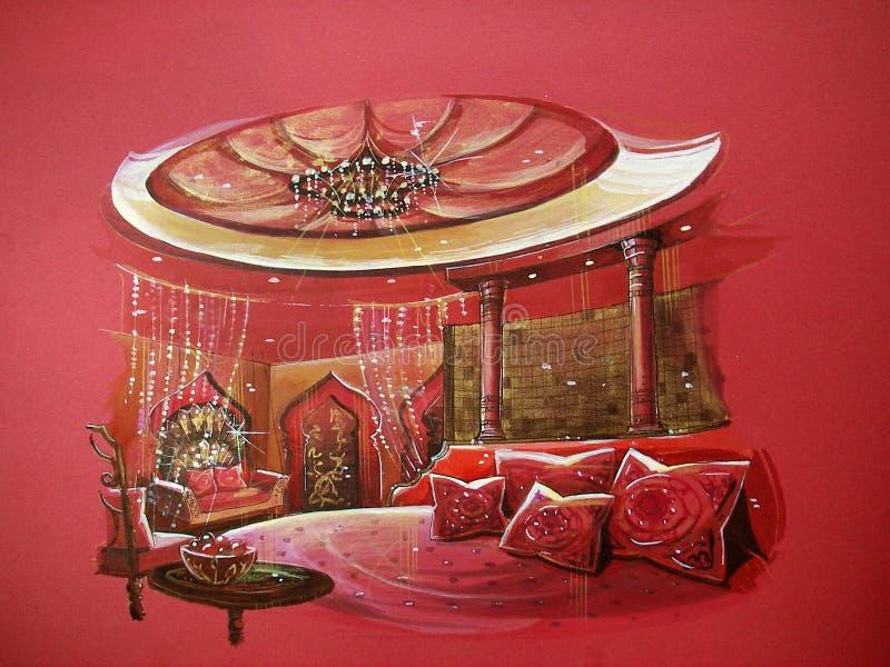 Interno indiano rosso della camera da letto di stile illustrazione di stock