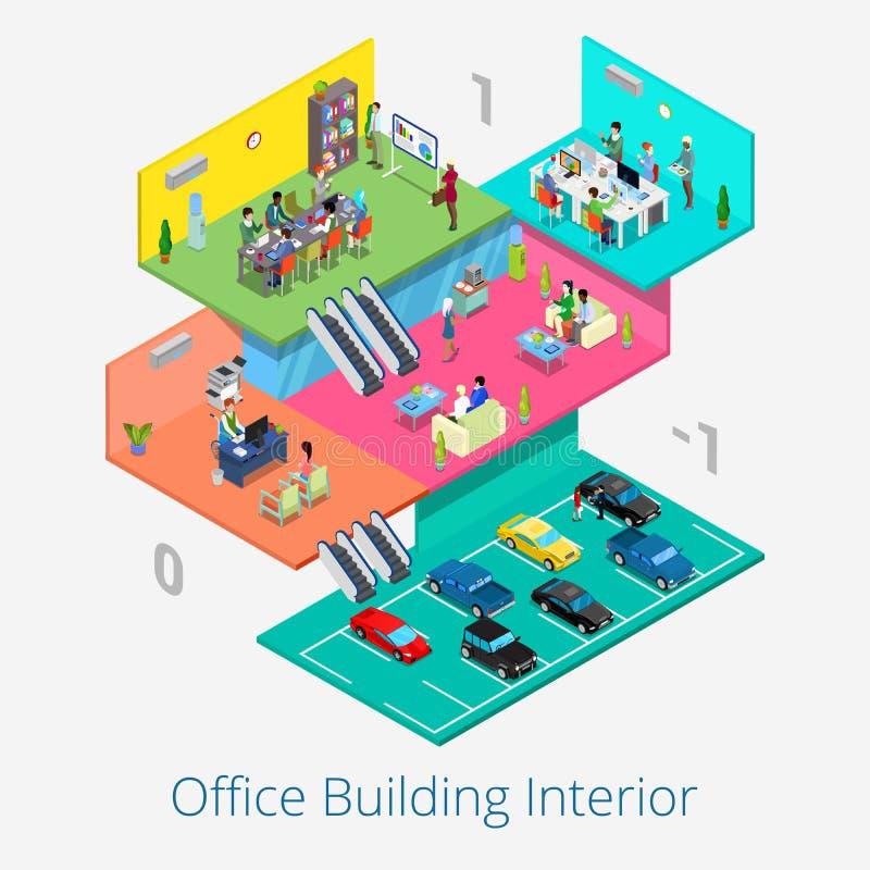 Interno isometrico del centro dell'ufficio Stanza di riunione d'affari, ricezione, pavimento di parcheggio dell'automobile illustrazione di stock