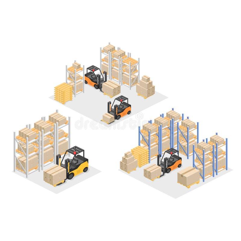 Interno isometrico del magazzino Le scatole sono sugli scaffali Illustrazione piana 3d illustrazione vettoriale