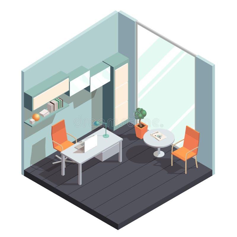Interno isometrico dell'ufficio royalty illustrazione gratis