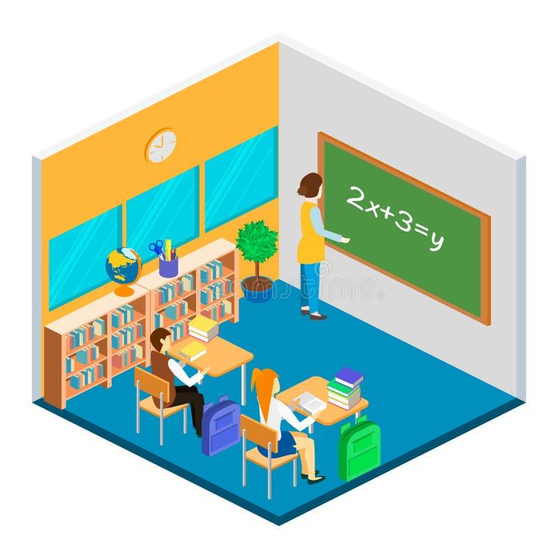 Interno isometrico della scuola illustrazione di stock
