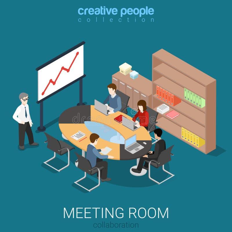 Interno isometrico di vettore piano del lavoro di presentazione della sala riunioni royalty illustrazione gratis