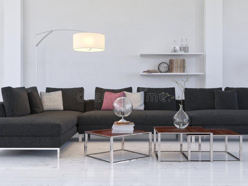 Interno leggero del salone con l'agrostide volgare/tavola moderne del coffe fotografia stock