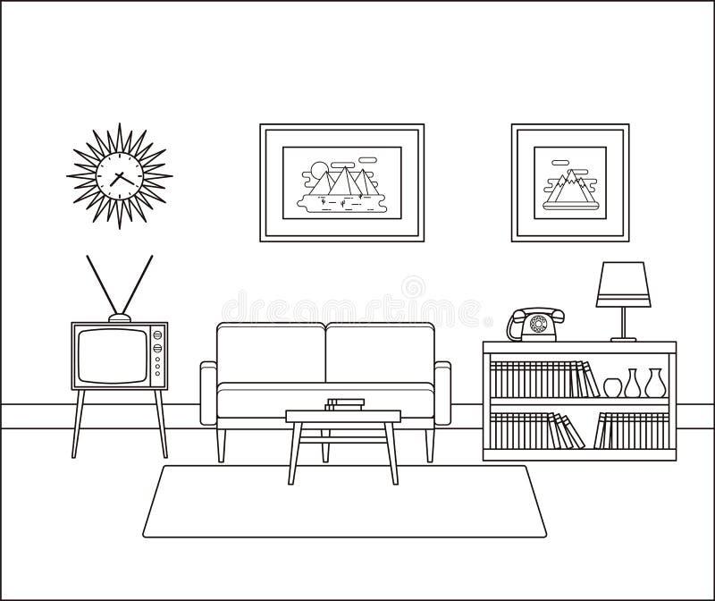 Interno lineare d'annata della stanza Illustrazione di vettore illustrazione vettoriale