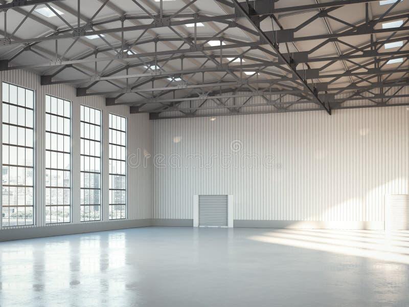 Interno luminoso del capannone della costruzione vuota rappresentazione 3d fotografia stock libera da diritti