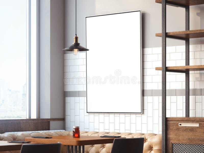 Interno luminoso del ristorante con tela rappresentazione 3d illustrazione vettoriale