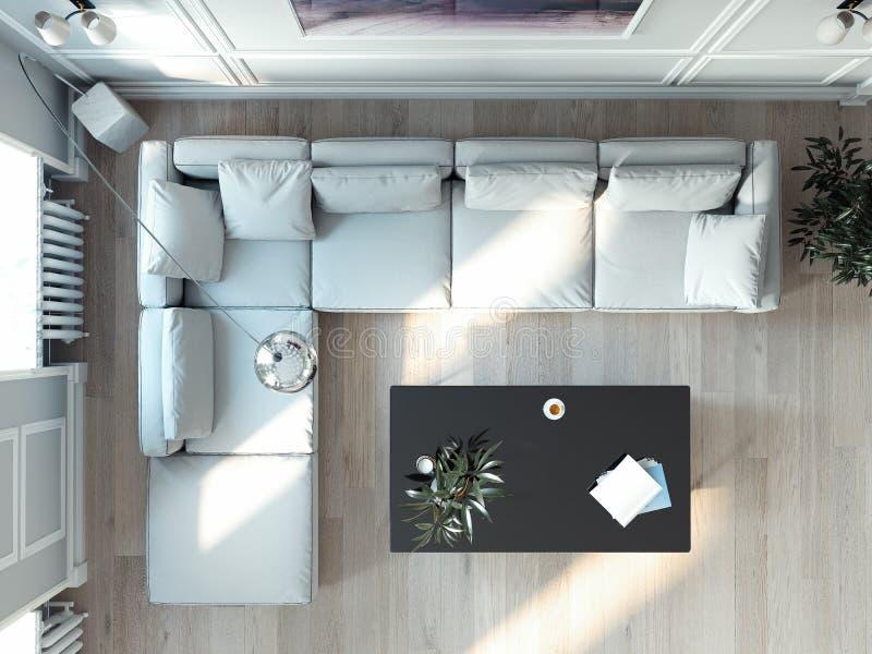 Interno luminoso del salone con la grande finestra e lo strato bianco rappresentazione 3d royalty illustrazione gratis
