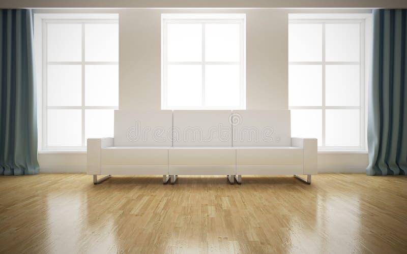 Interno luminoso moderno con il sofà bianco illustrazione vettoriale