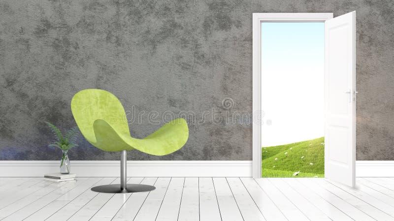 Interno luminoso moderno con la porta aperta rappresentazione 3d illustrazione vettoriale